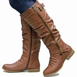 Shoes - New Tan Ruched Buckle Knee High Riding Boots